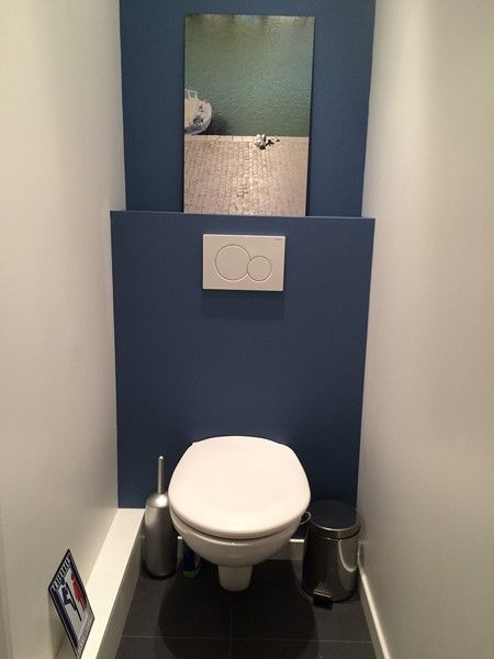 Nouvelle ann e nouvelles toilettes repeintes en bleu c for Wc suspendu decoration