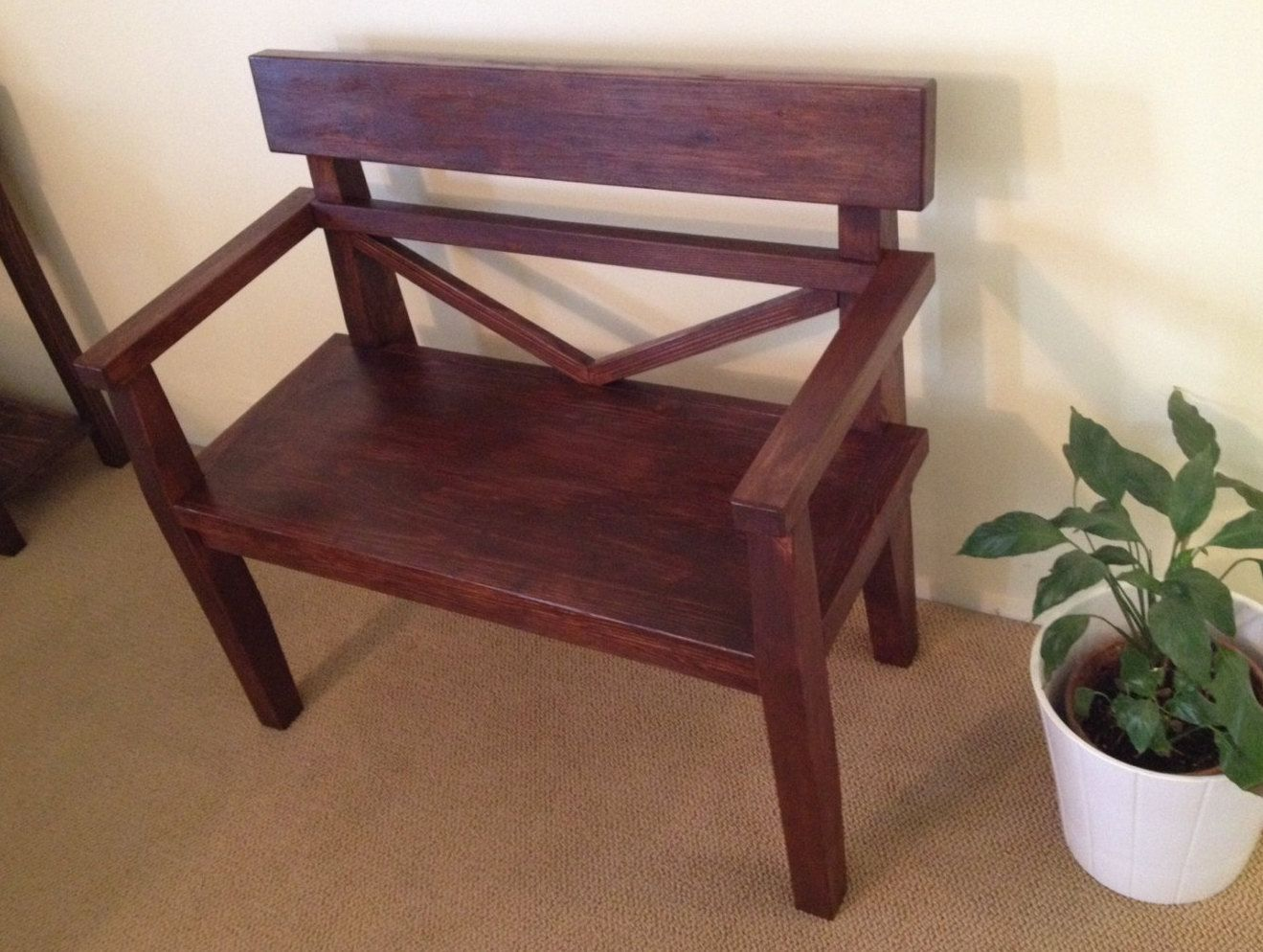 Farmhouse style bench Rustic bench with armrest Solid