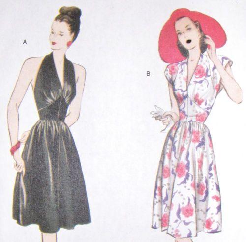 Retro sewing pattern, 50s 40s halter neck dress, size 6 - 20 vintage ...