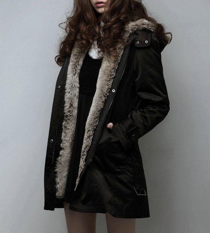 Faux fur warm coat winter coat black  coat hoodie by Fashiondress1, $99.99