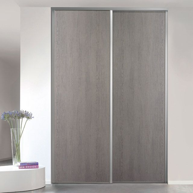 Porte de placard coulissante chêne cendré Form Valla 62,2 x 245,6 cm ...