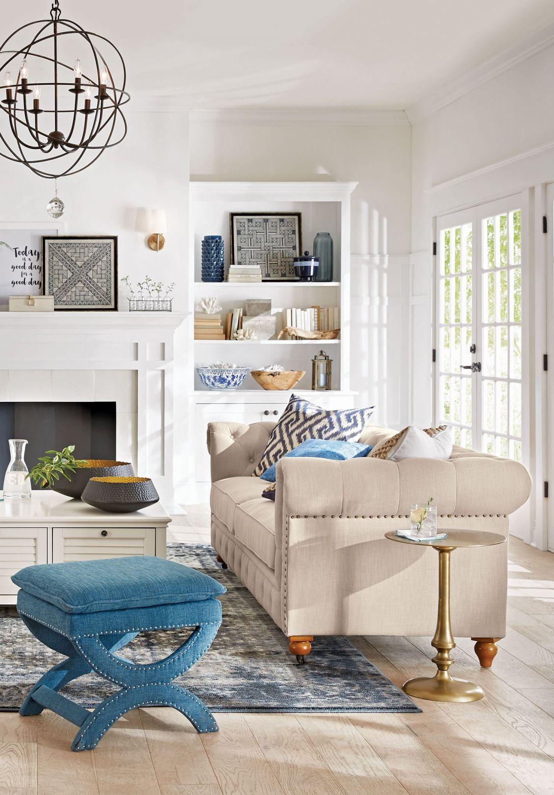 Home Decorators Collection Gordon Natural Linen Sofa | Pinterest ...