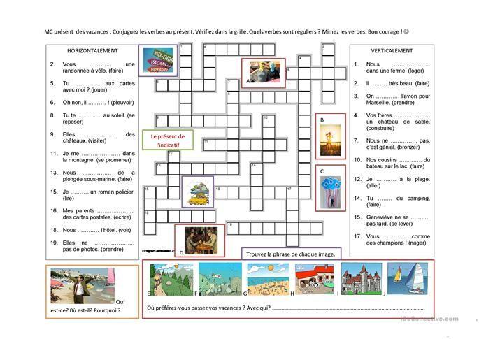 Present De L Indicatif Les Vacances Exercice Verbe Fiches Pedagogiques Vacances
