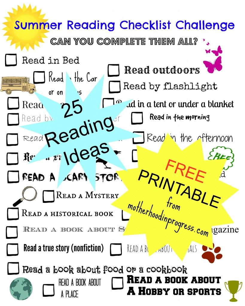free summer #reading checklist challenge printable - 25 reading