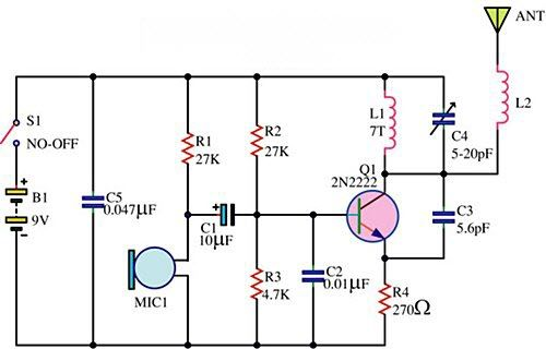 Wireless Microphone Circuit Free Electronic Circuits 8085 Projects