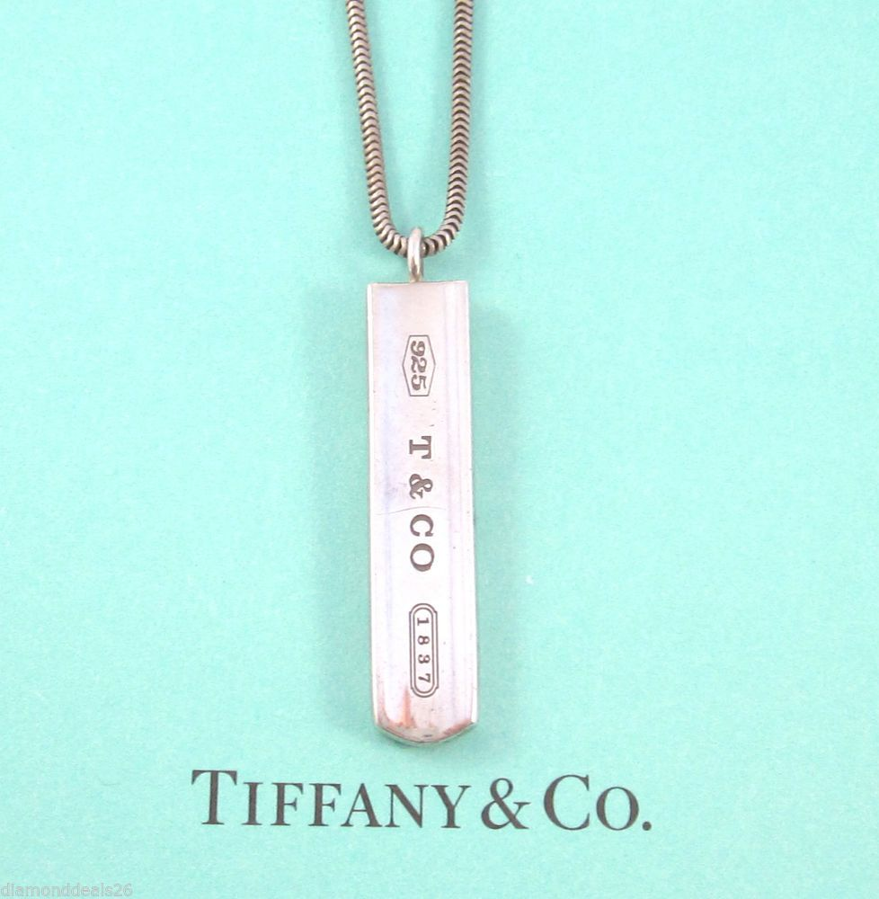 5aed289cfbad8 Tiffany & Co. 2001 Authentic 1837 Bar Pendant With Snake Chain ...