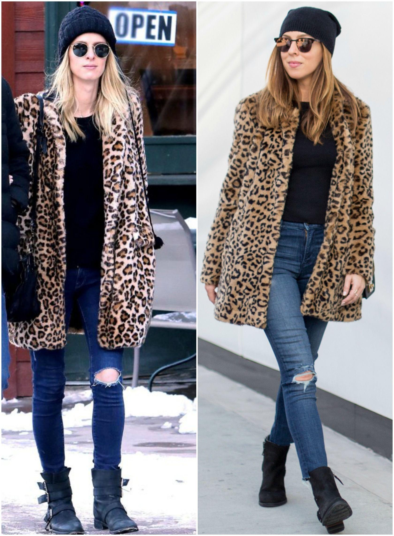 72b4e5e1fc1 Inspired By Nicky Hilton s Leopard Coat and Beanie - Sydne Style