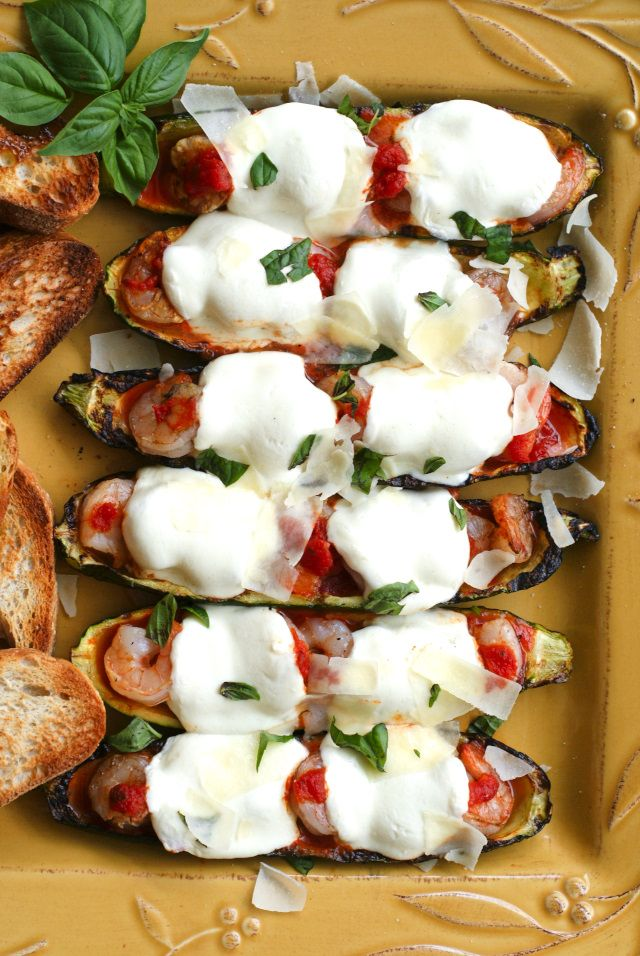 Grilled Shrimp Parmesan Zucchini Boats   The Two Bite Club   #TuscanSummerGrill AD