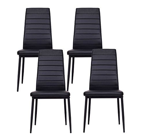 IDS Online 4 PCS Set Dining Side Chair With Foot Pad Modern Style PU Leather Black
