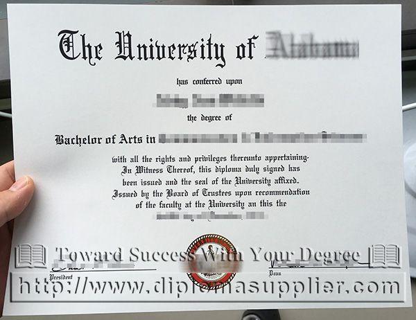 The University of Alabama degree, The University of Alabama - sample graduation certificate