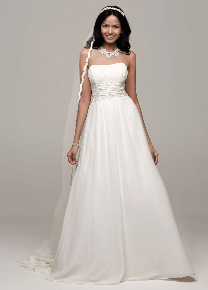 80cd6d5e06c Petite Chiffon A-line with Beaded Lace on Empire - David s Bridal ...