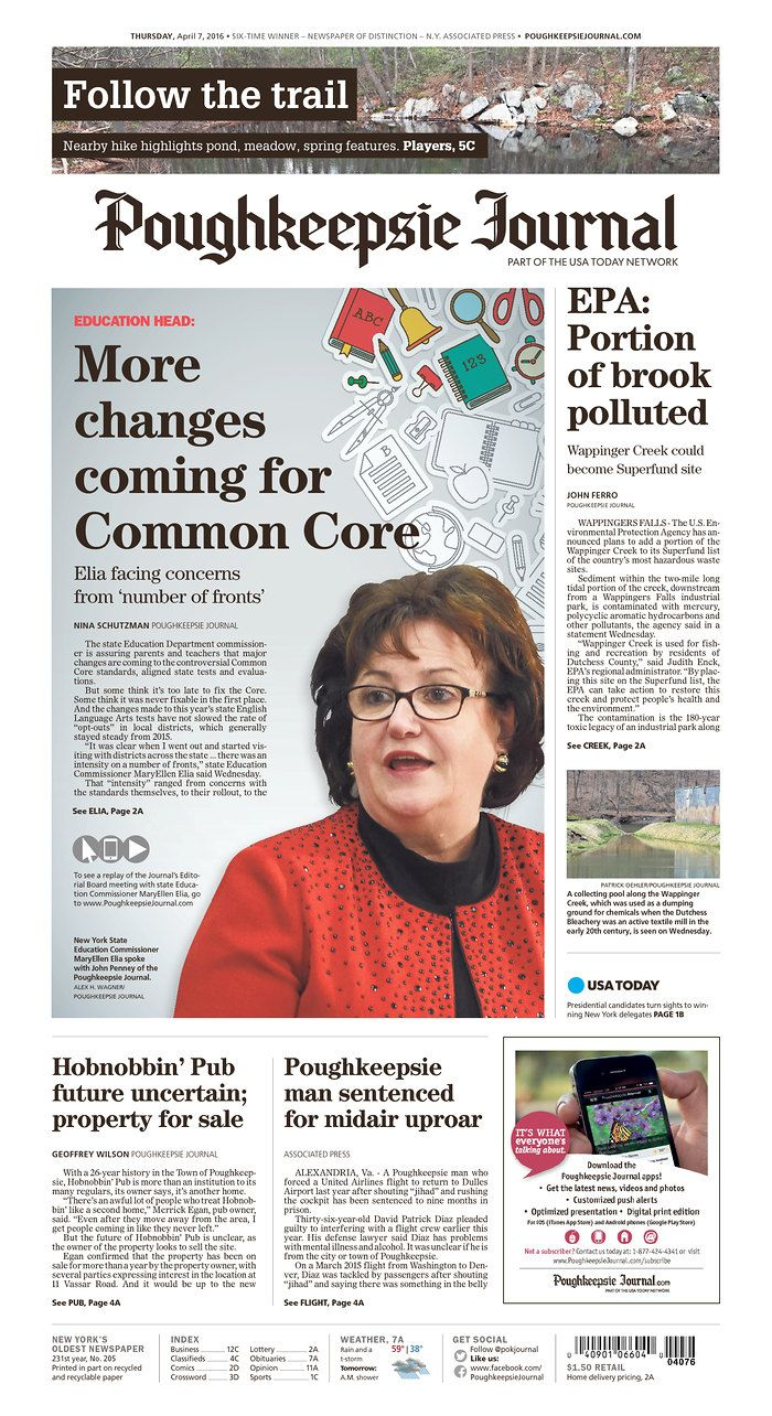 Poughkeepsie Journal 4/7/16 via Newseum   Newspaper Layouts