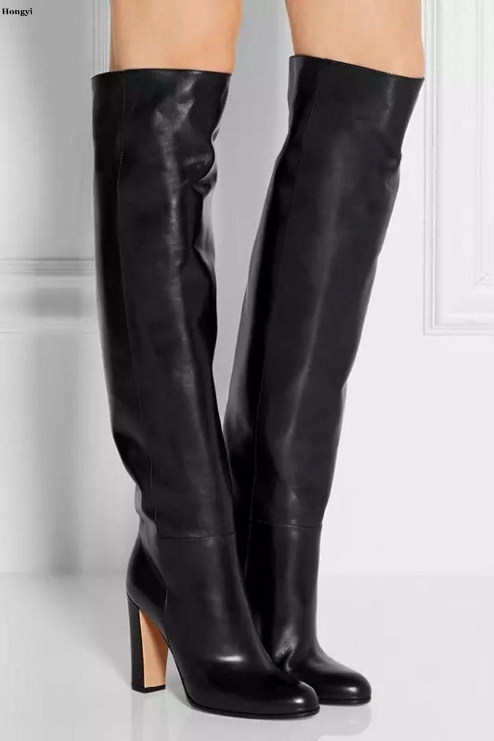 e035349c44b Hongyi Autumn Winter Newest Black Boots Woman round toe over the knee boots  thick heels riding