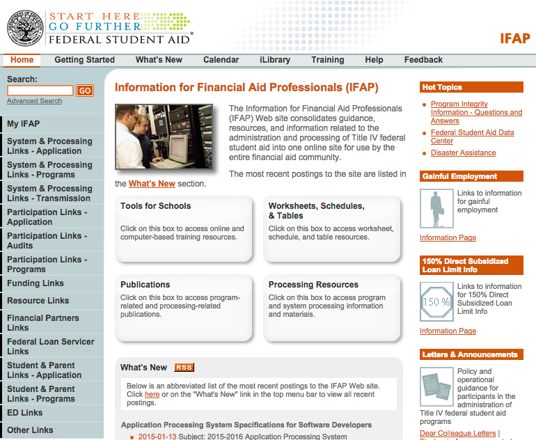 Information for Financial Aid Professionals website. IFAP provides guidance, resources and ...