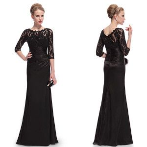 Black evening dresses with three quarter lace sleeves for matric ...