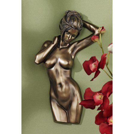 Bronzed Nude Female Torso Wall Plaque