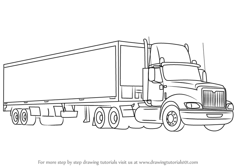 Learn How To Draw A Truck And Trailer Trucks Step By Step Drawing Tutorials Truck And Trailer Trucks Truck Tattoo