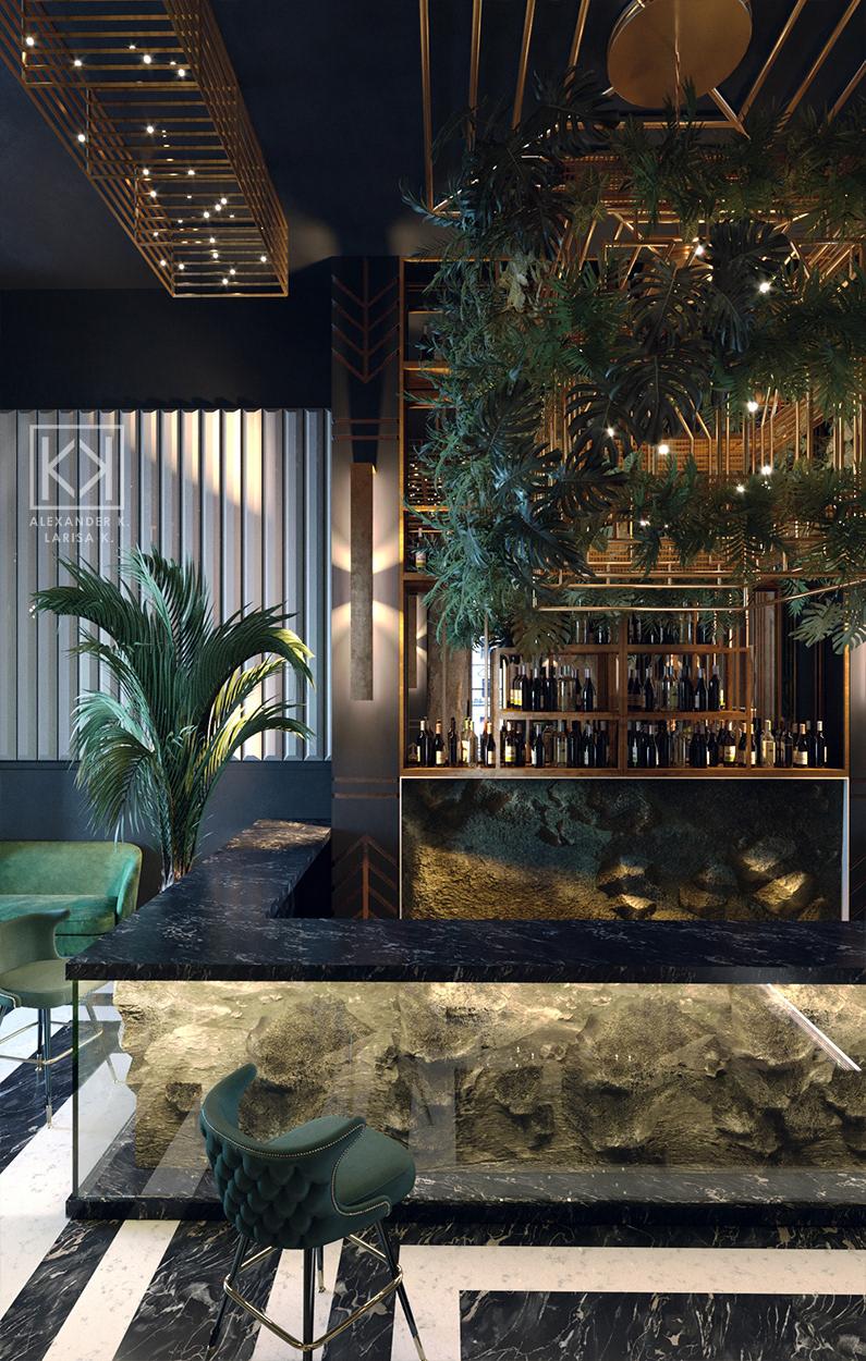 Art Deco Restaurant, reception and bar