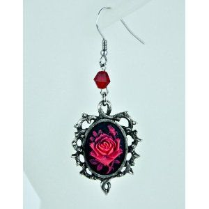 Red Rose Thorn Gothic Earrings