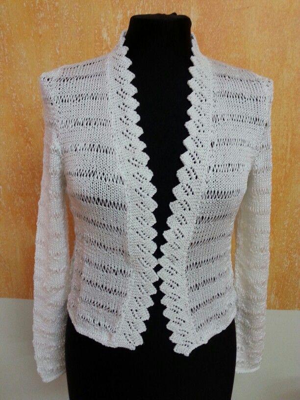 Chaqueta para una novia  tejida con la calidad  brisa  de #katia