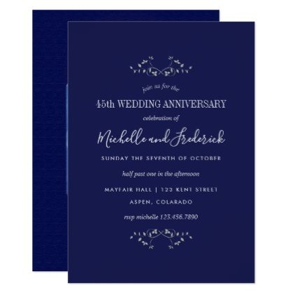 Th Sapphire Wedding Anniversary Invitation  Invitations