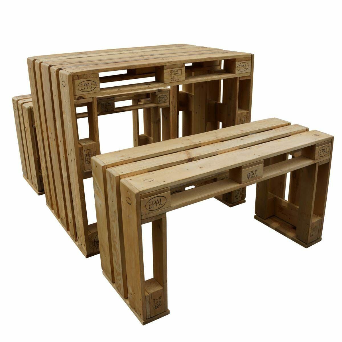 Hochsitzgruppe aus Paletten – Tisch & Bänke