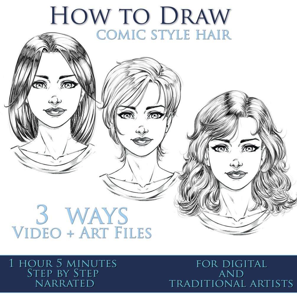 How To Draw Comic Style Hair 3 Ways Step By Step Comic Drawing Comic Book Drawing Comic Book Style