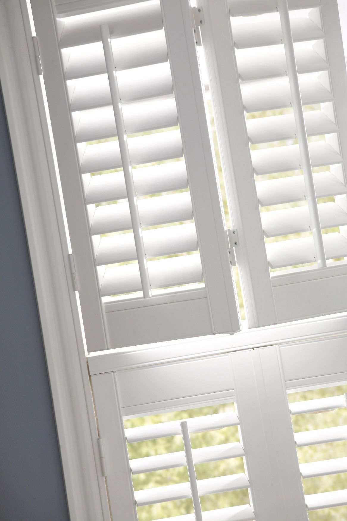 White Double Shutters By Apollo Blinds And Blue Home Decor Inspiration Modern Window Dressing Living Room