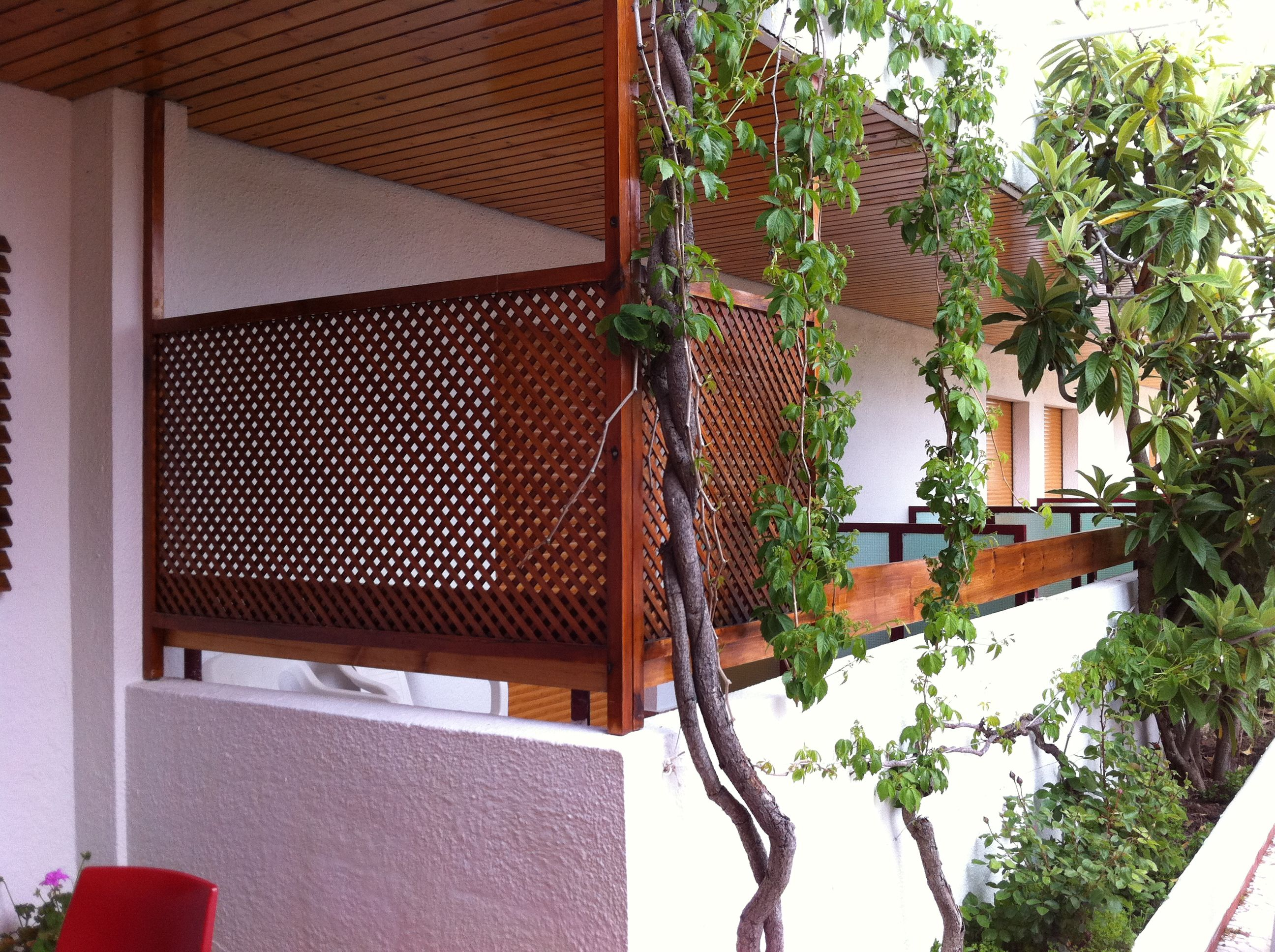 Balcony with wooden lattice