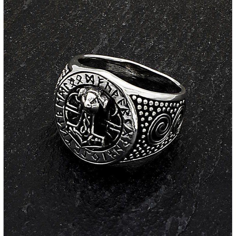 Thors Hammer Runen 925 Silber Ring Siegelring Thorshammer Kelten Wikinger Thor