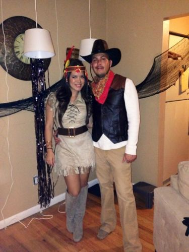 Halloween Couples Costume Native Indian And Cowboy -6619