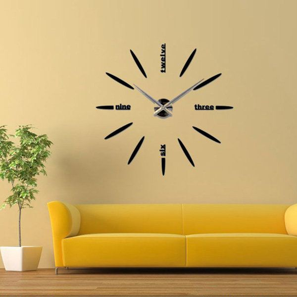 3D DIY Modern Mute Mirror Wall Clock Wall Sticker Home Decoration - Newchic