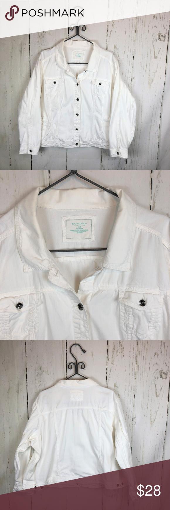 Sonoma Women S White Denim Jean Jacket Stretchy Denim Jean Jacket White Denim White Denim Jeans [ 1740 x 580 Pixel ]