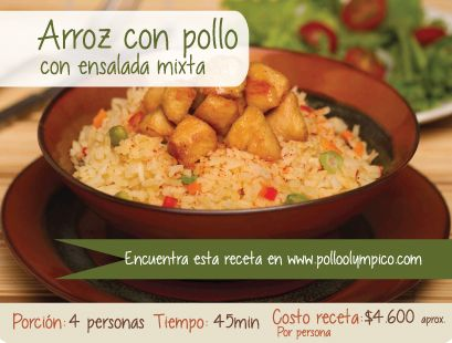 Delicioso y nutritivo arroz con pollo. encuentra esta receta en  http://www.polloolympico.com/nuevo/arrozconpollo.php  #ArrozconPollo #Receta #comida #Deliciosa #Nutritiva #Colombia