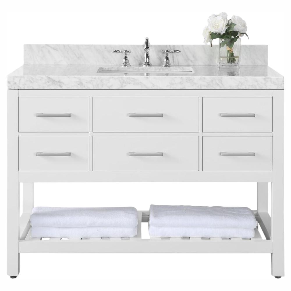Ancerre Designs Elizabeth 48 In W X 22 In D Vanity In White With Marble Vanity Top In Carrara White With White Basin Vts Elizabeth 48 W Cw The Home Depot In 2020 Marble Vanity