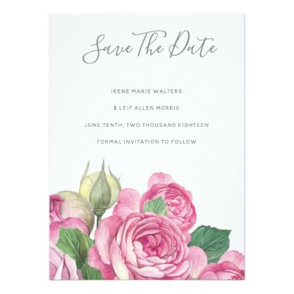 Rose Watercolor Save The Date Card - formal speacial diy personalize