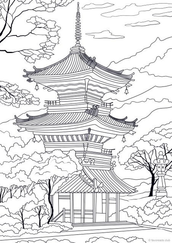Japanese Temple - Printable Adult Coloring Page from Favoreads (Coloring book pages for adults and kids, Coloring sheets, Coloring designs) #coloringsheets