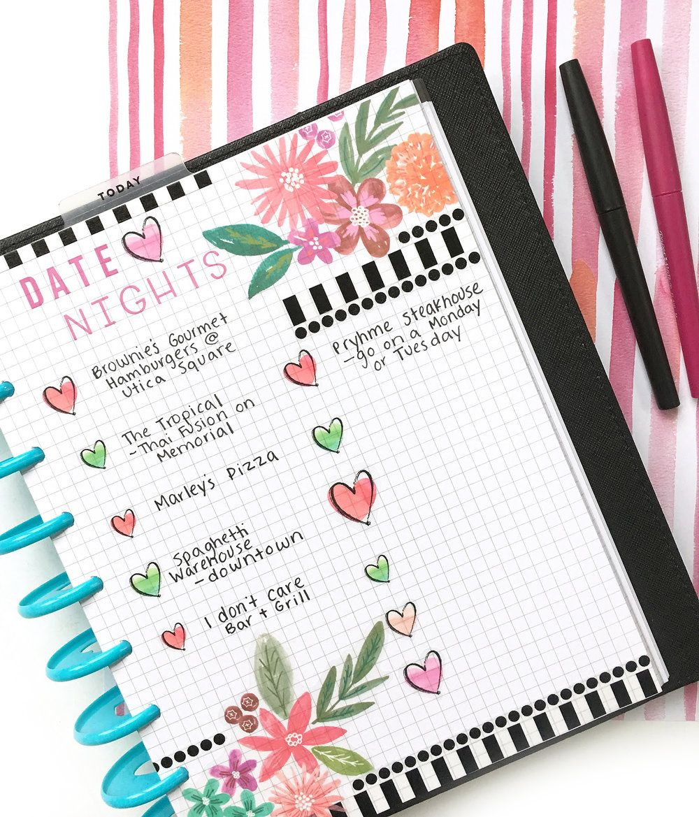 diy date night bucket list using happy planner grid paper