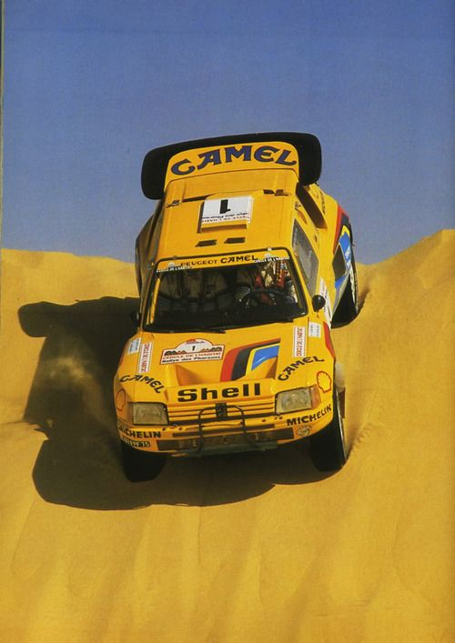 Ari Vatanen On Peugeot 205 T16 For The Race Paris Dakar Rally