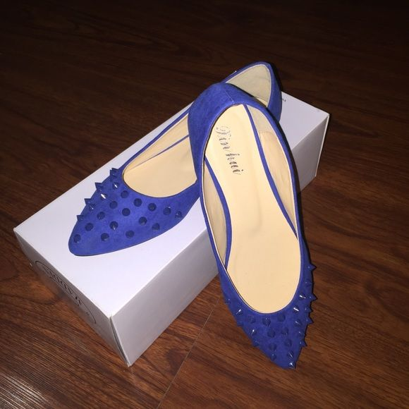 Blue Stud Pointed Flat 10/10 Condition. Never worn! Purchased in China. I listed photos with flash and without, so you can see the differences. Shoes Flats & Loafers