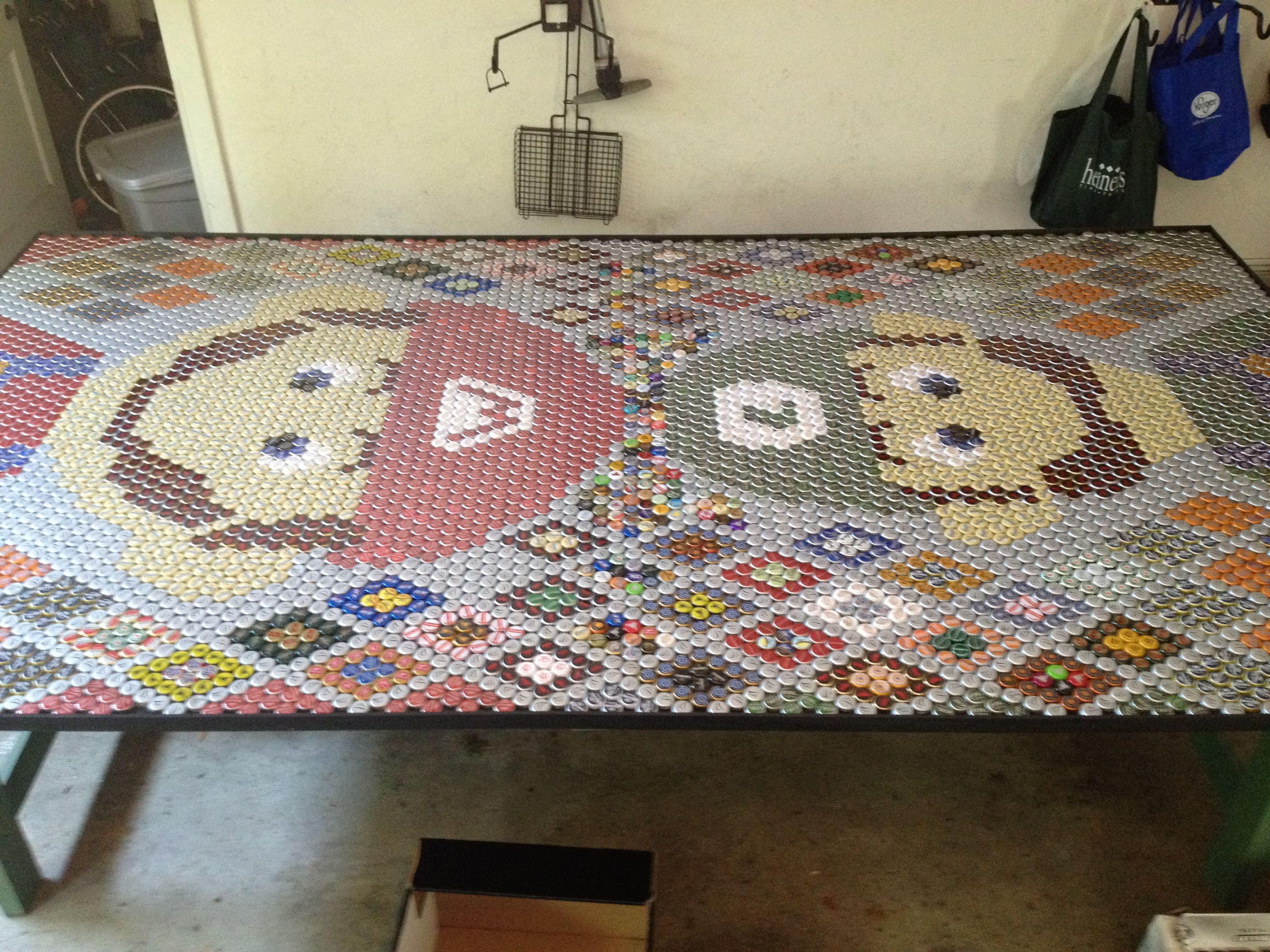 My 6 000 bottle cap 5ft by 9ft Mario and Luigi Beer Pong Ping