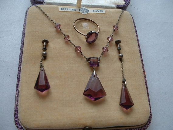 Boxed Art deco amethyst glass necklace earrings by WhenIWasALad