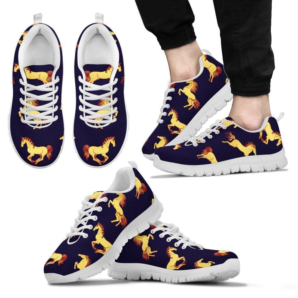 Gold Horse Pattern Men Sneakers #horsepattern