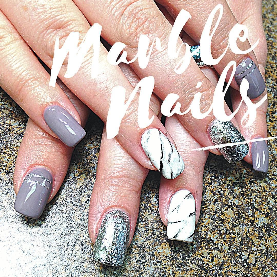 Gray gel nails with marble design and silver glitter nail art lines ...