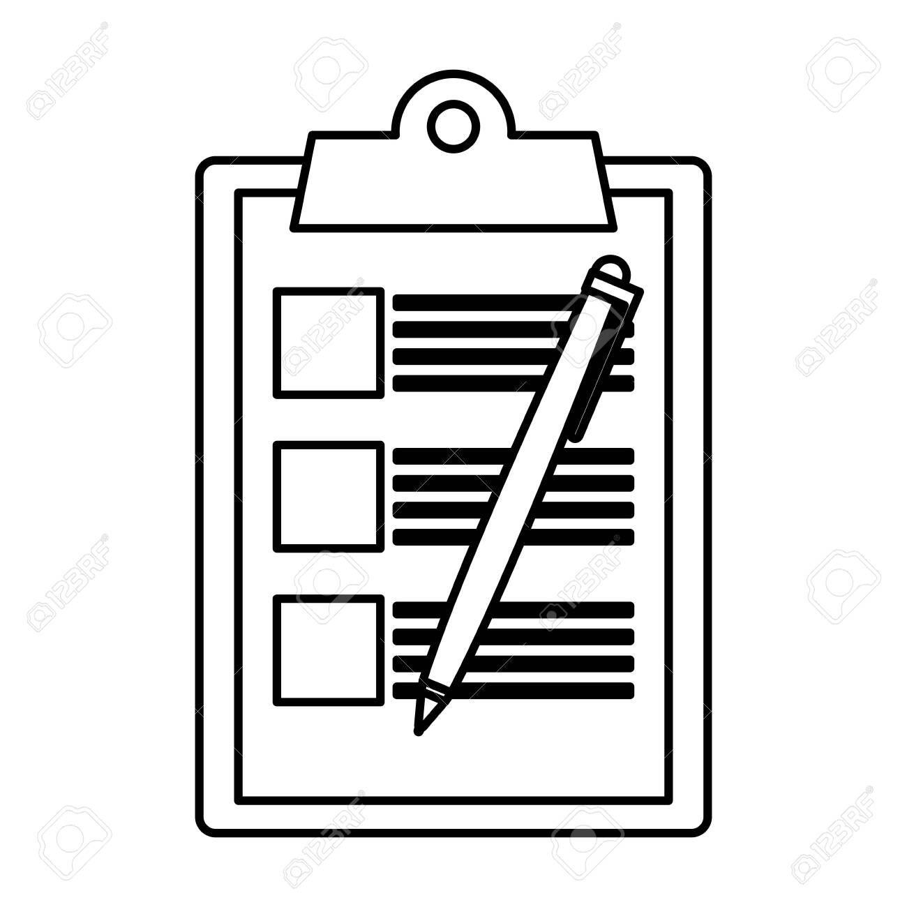 Checklist Clipboard With Pen Vector Illustration Design