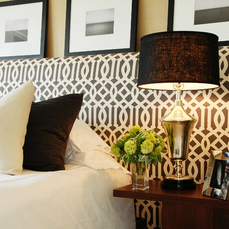 Headboard wall with graphic fabric