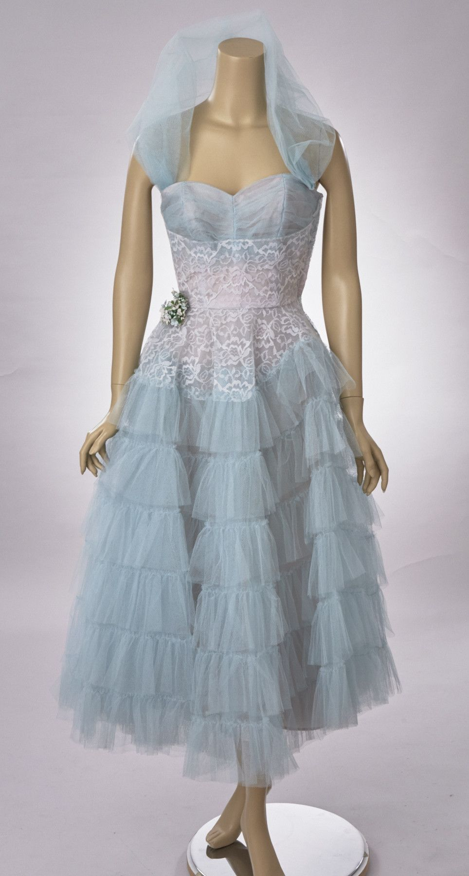 Blue & White Tulle Party Dress | White tulle, Prom and 1950s
