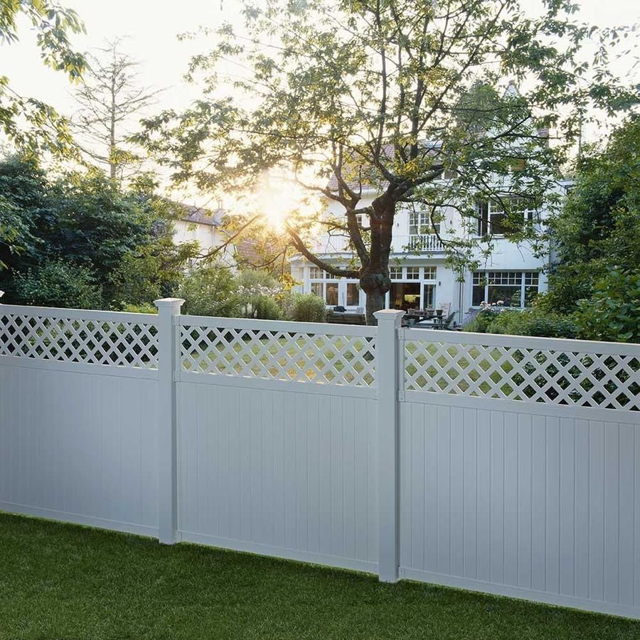 Outdoor Essentials Picketlock Olympia 6 Ft H X 6 Ft W Whtie Vinyl Lattice Top Fence Panel Lowes Com In 2020 Fence With Lattice Top Outdoor Essentials White Vinyl Fence