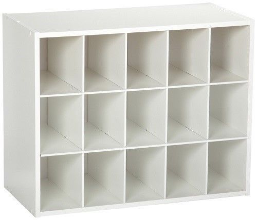 Cubby Hole Storage White 15 Cube Laminate Shoe Organizer Rack Free Shipping