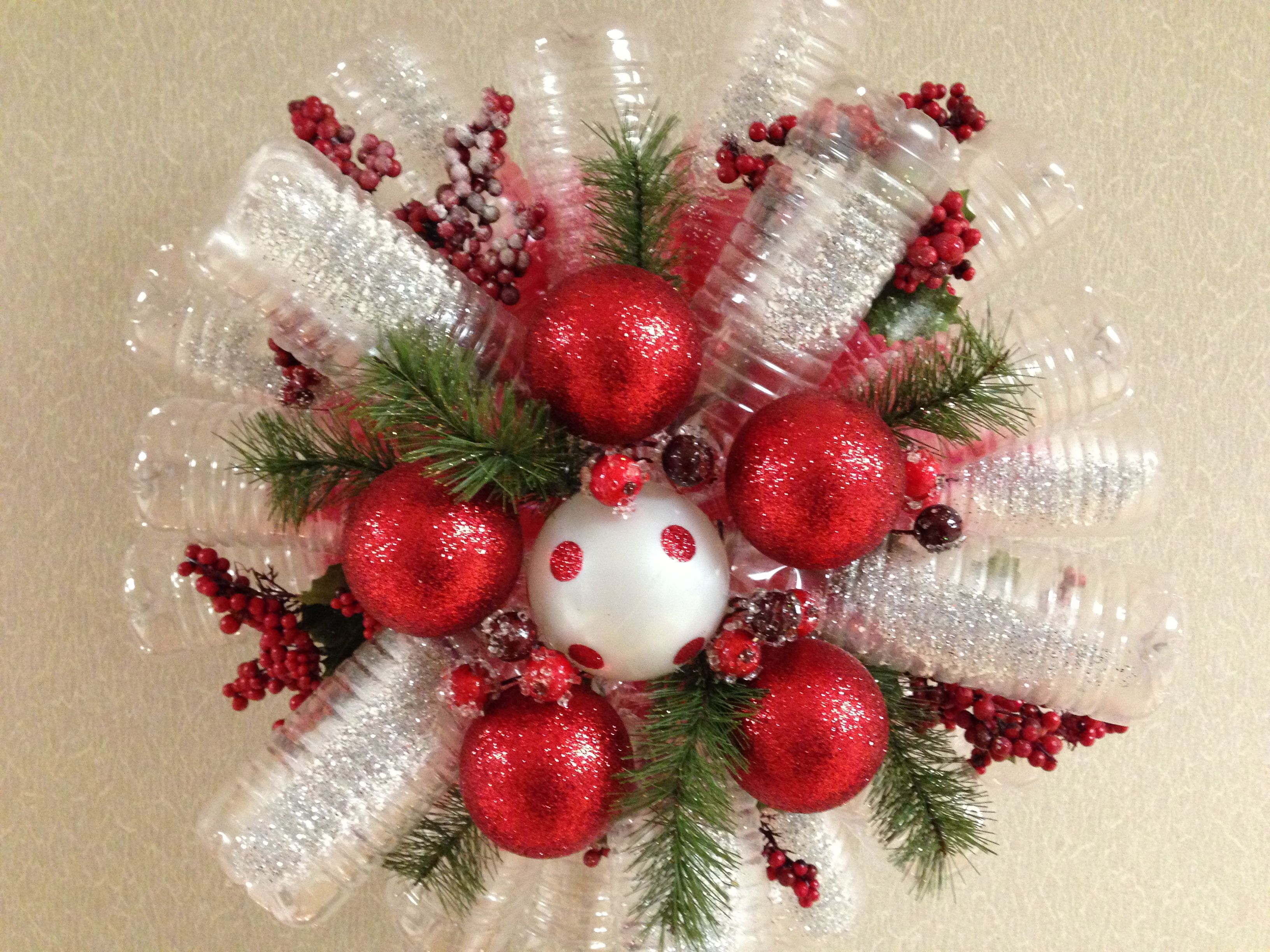 Recycle your water bottles They can be turned into a Holiday Wreath